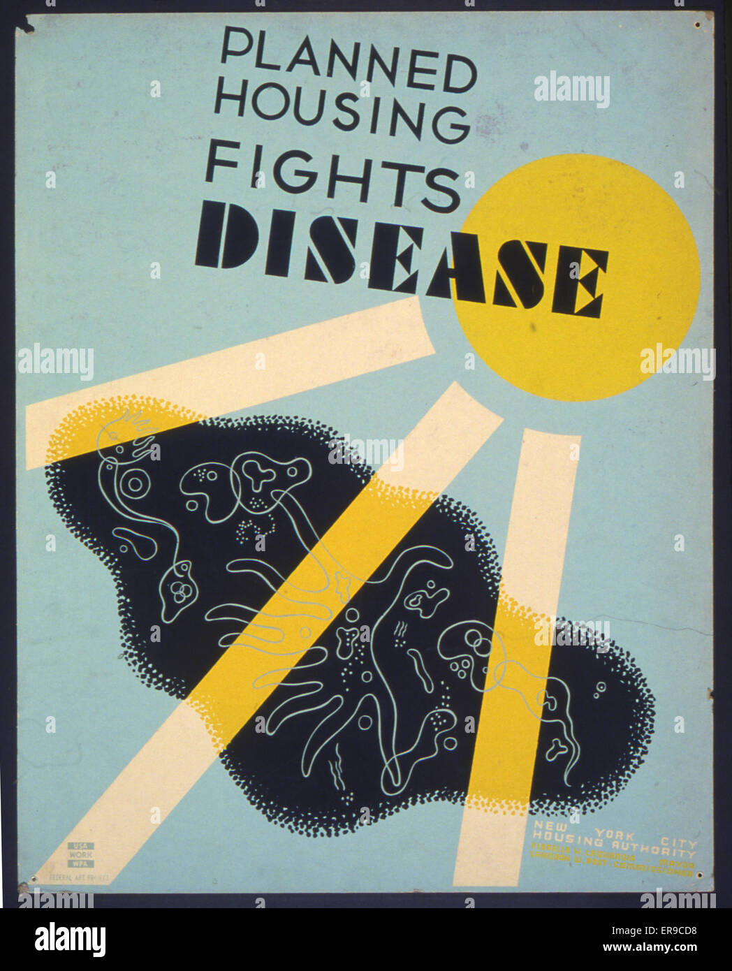 Planned housing fights disease. Poster promoting planned housing as a method to deter disease in cities, showing - Stock Image