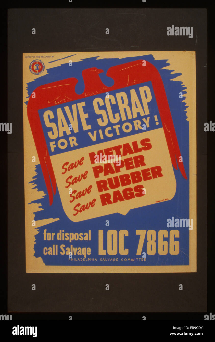 Save scrap for victory! Save metals, save paper, save rubber, save rags. Poster for the Philadelphia Salvage Committee - Stock Image