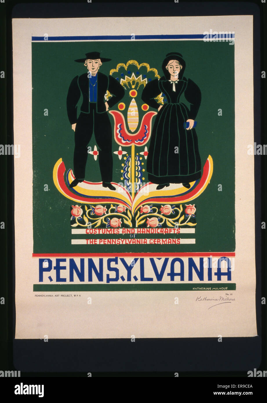 Pennsylvania Costumes and handicrafts, the Pennsylvania Germans . Poster promoting Lancaster County, Pennsylvania, - Stock Image