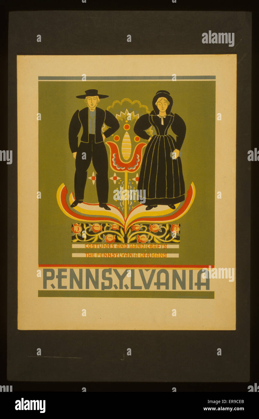 Pennsylvania Costumes and handicrafts, the Pennsylvania Germans. Poster promoting Pennsylvania, showing an Amish - Stock Image