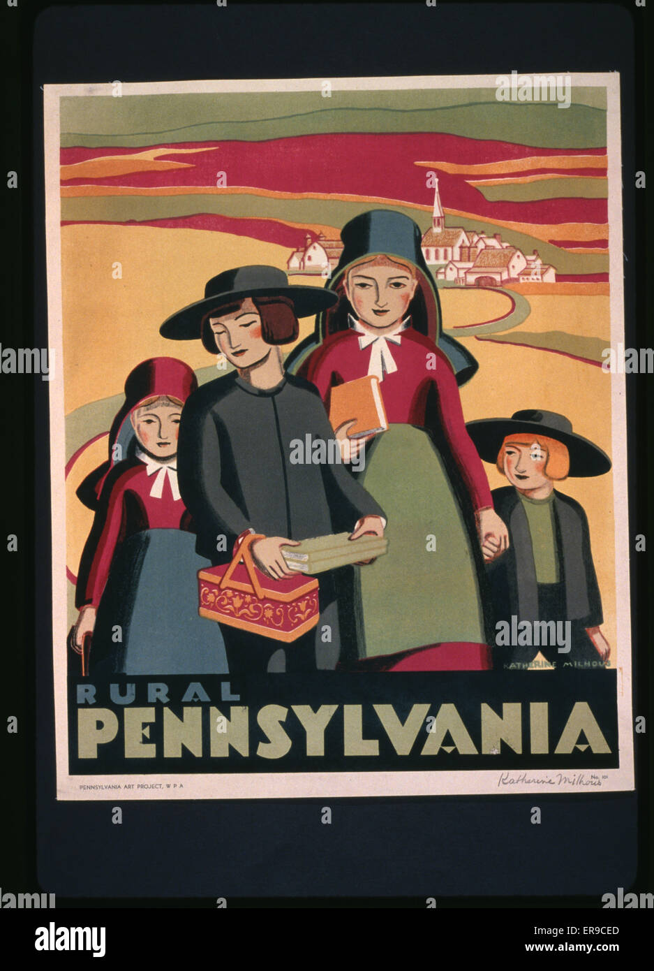 Rural Pennsylvania. Poster promoting Pennsylvania, showing children from a religious community. Date between 1936 - Stock Image