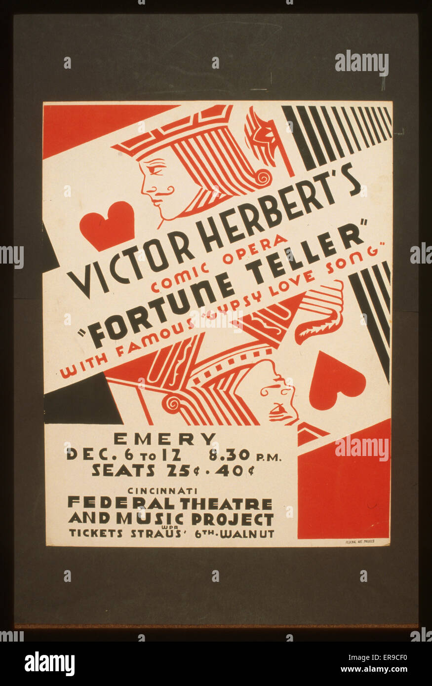 Victor Herbert's comic opera Fortune teller with famous gypsy love song. Poster for Federal Theatre and Music - Stock Image
