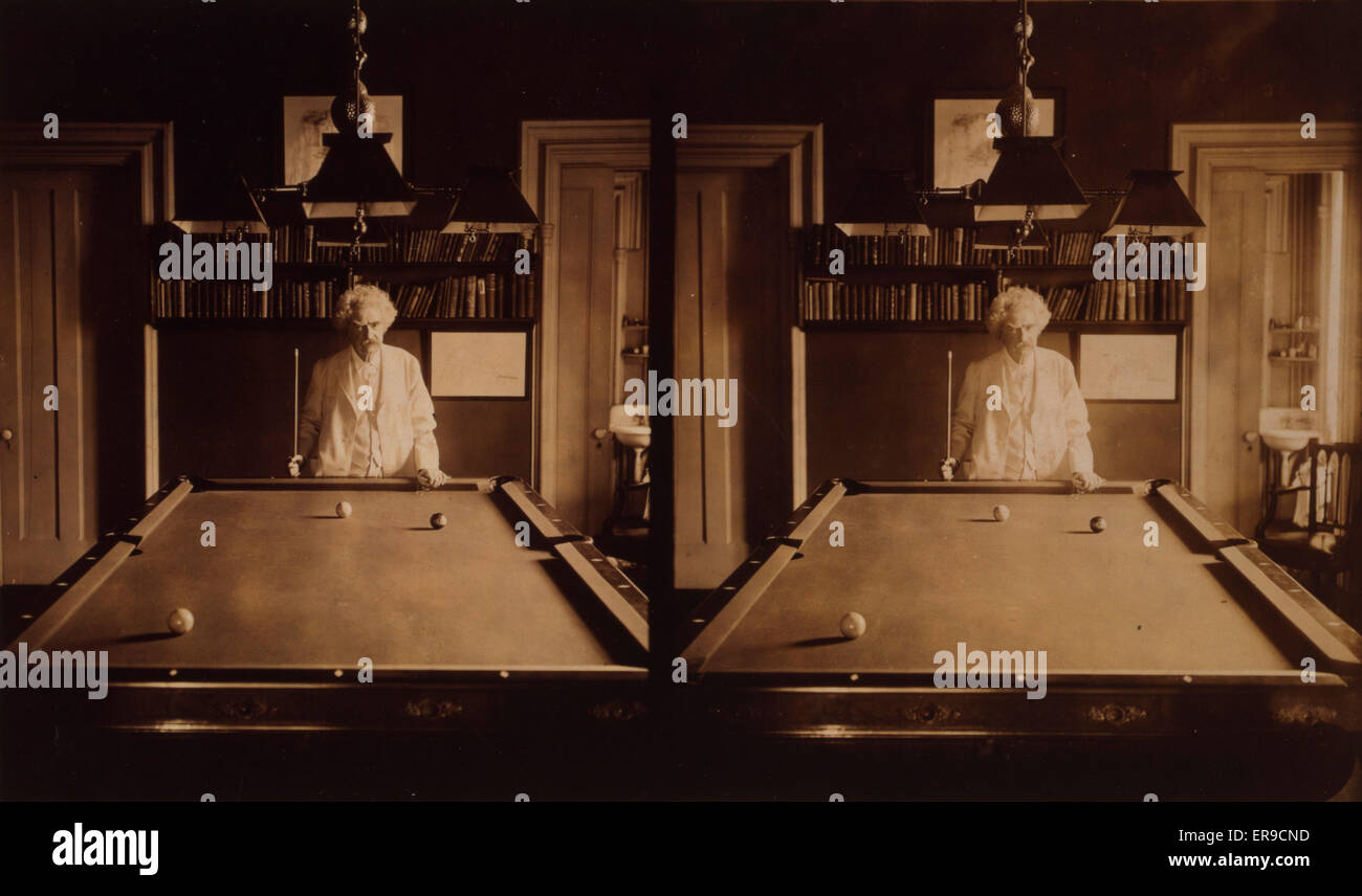 Samuel Clemens Halflength Portrait Standing At End Of Pool Table - Pool table length