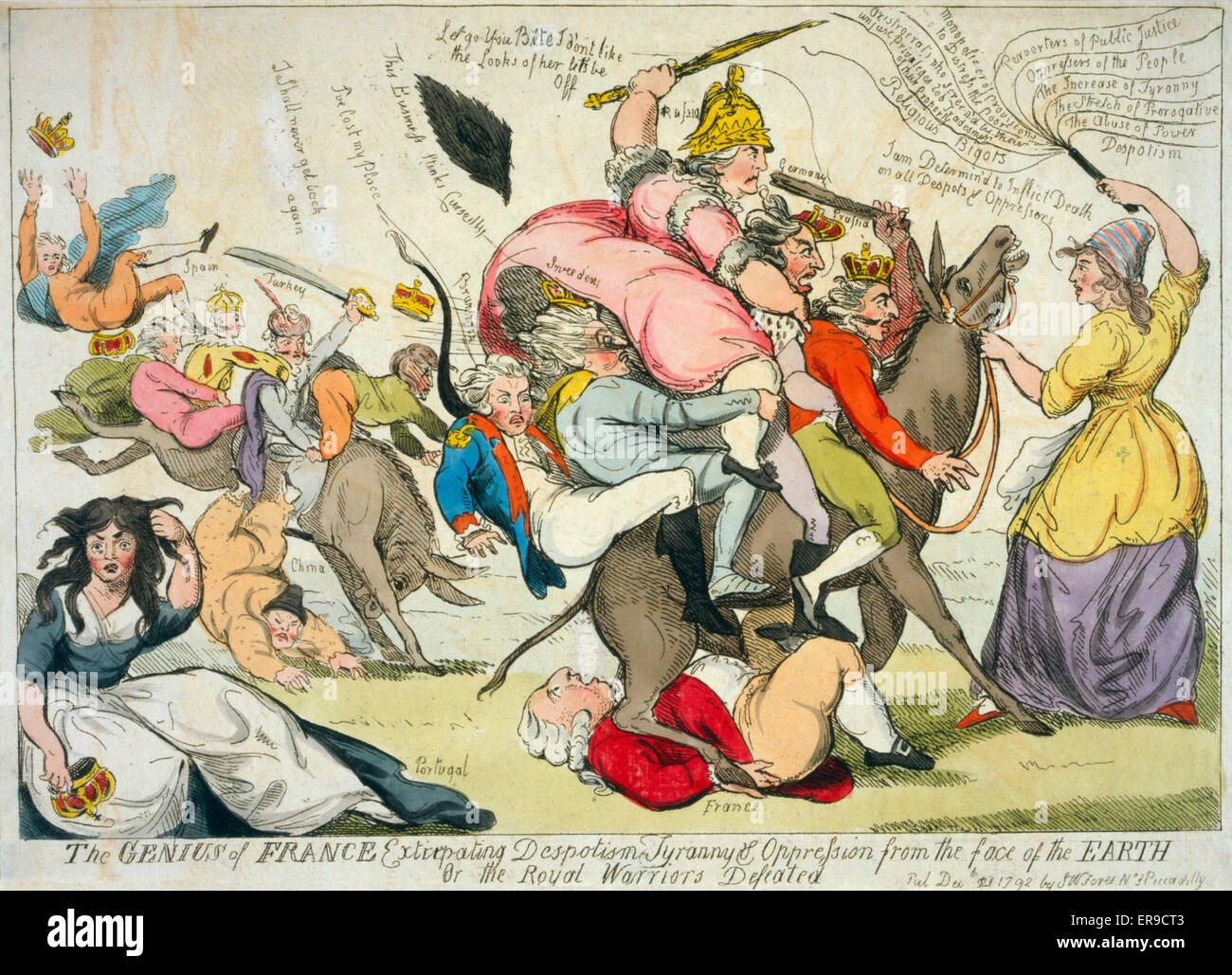 The genius of France extirpating despotism tyranny & oppression from the face of the earth Or the royal - Stock Image