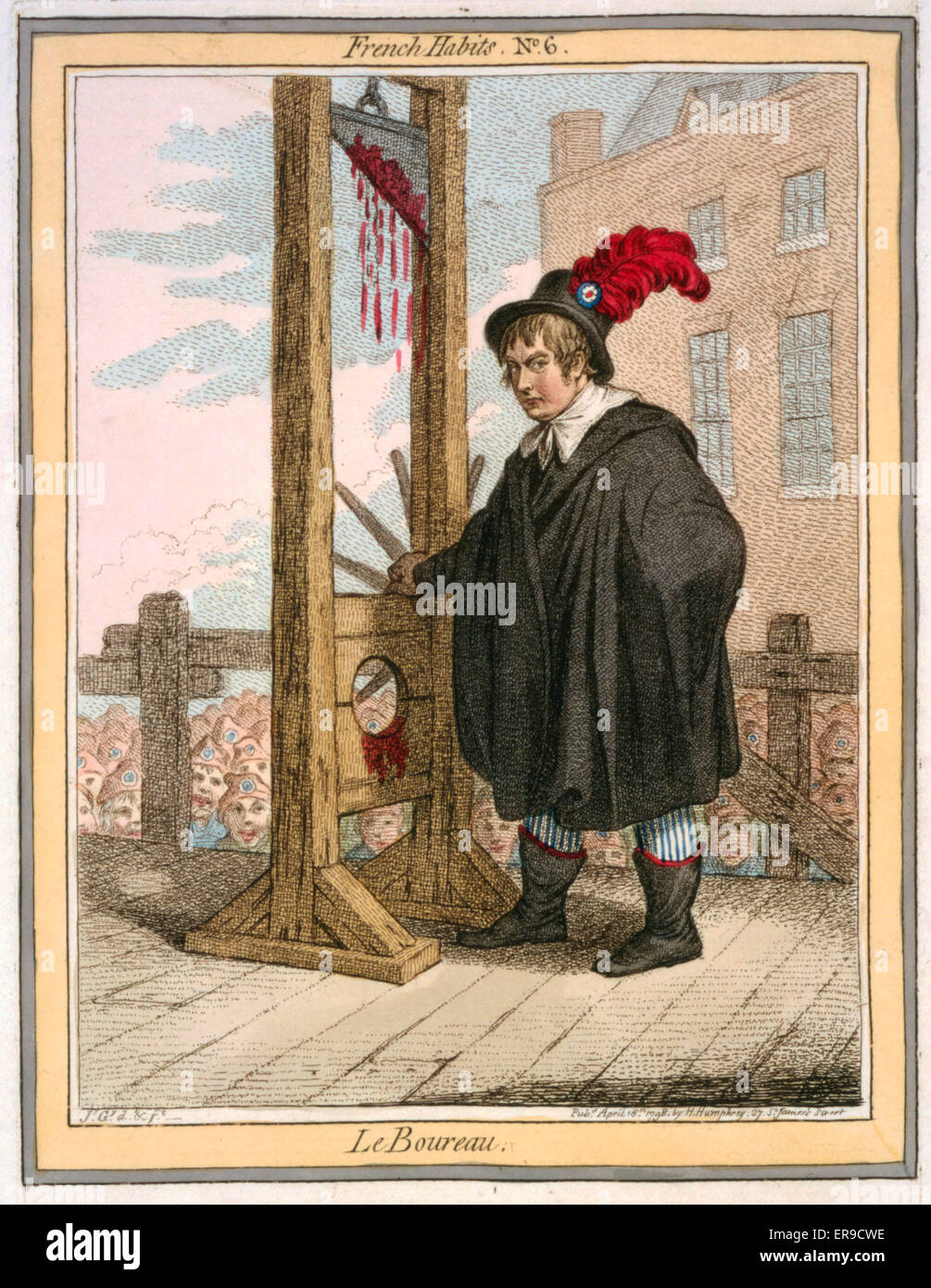Le Boureau. Cartoon shows George Tierney dressed as an executioner standing next to a guillotine with a crowd of - Stock Image