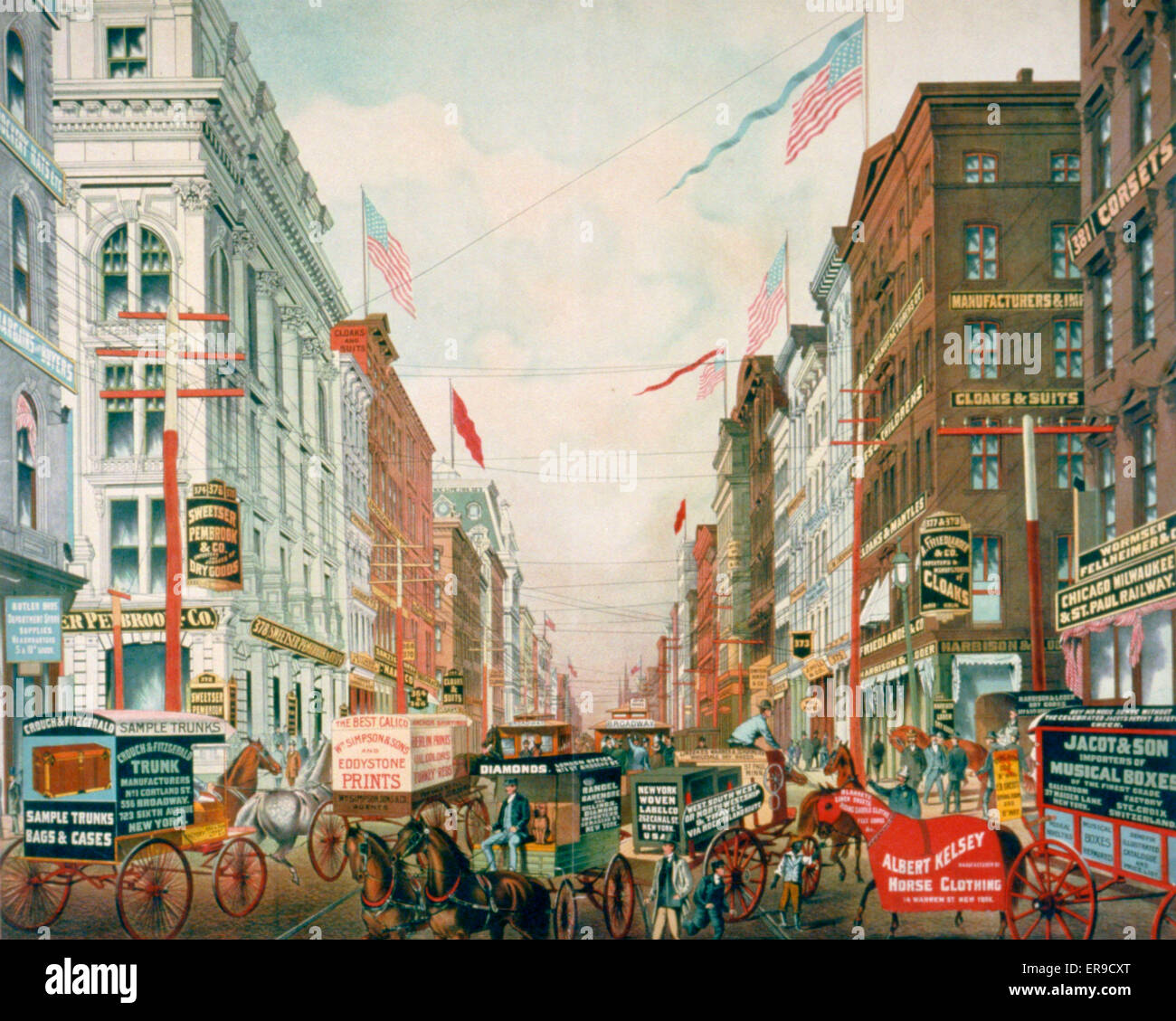 A glimpse of New York's dry goods district. Illustration of a busy scene on Broadway in New York City showing - Stock Image