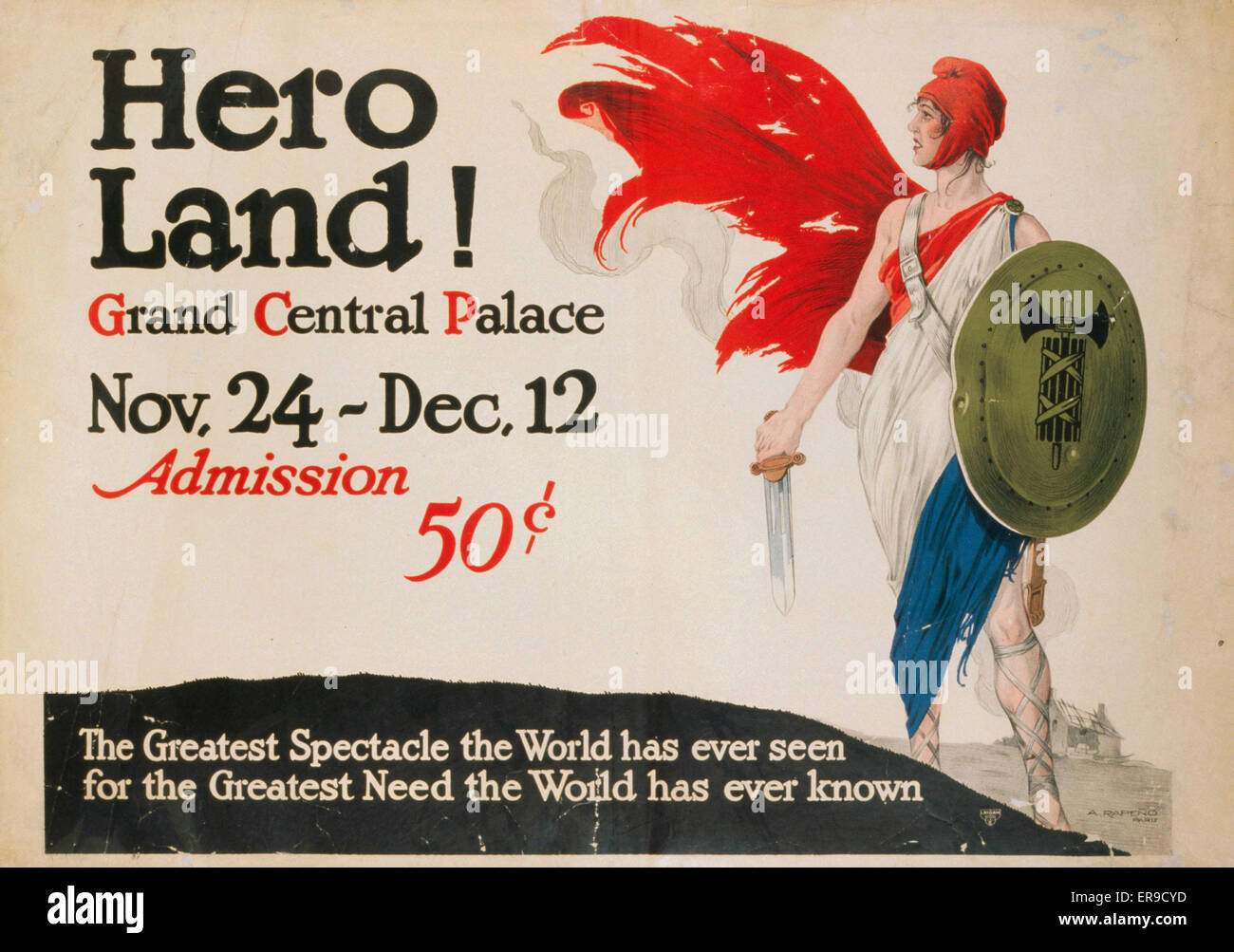Hero land! Grand Central Palace, Nov. 24 - Dec. 12. Admission 50 cents. Translation of title: Marianne wearing a - Stock Image