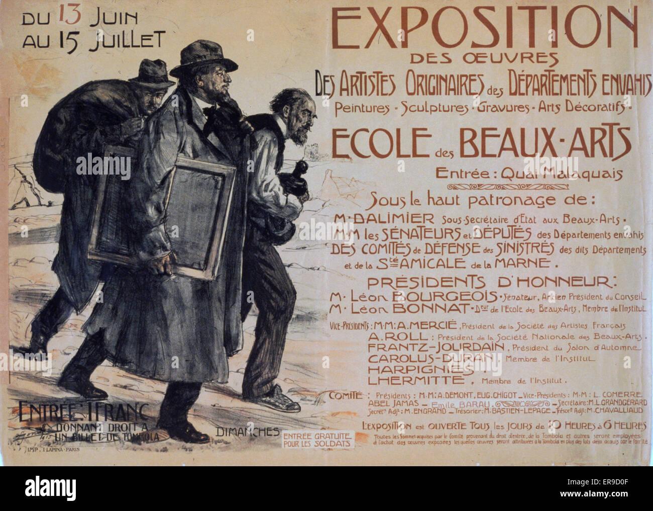 Exposition des oeuvres des artistes originaires des Departements envahis. Ecole des Beaux-Arts. Three artists, the - Stock Image