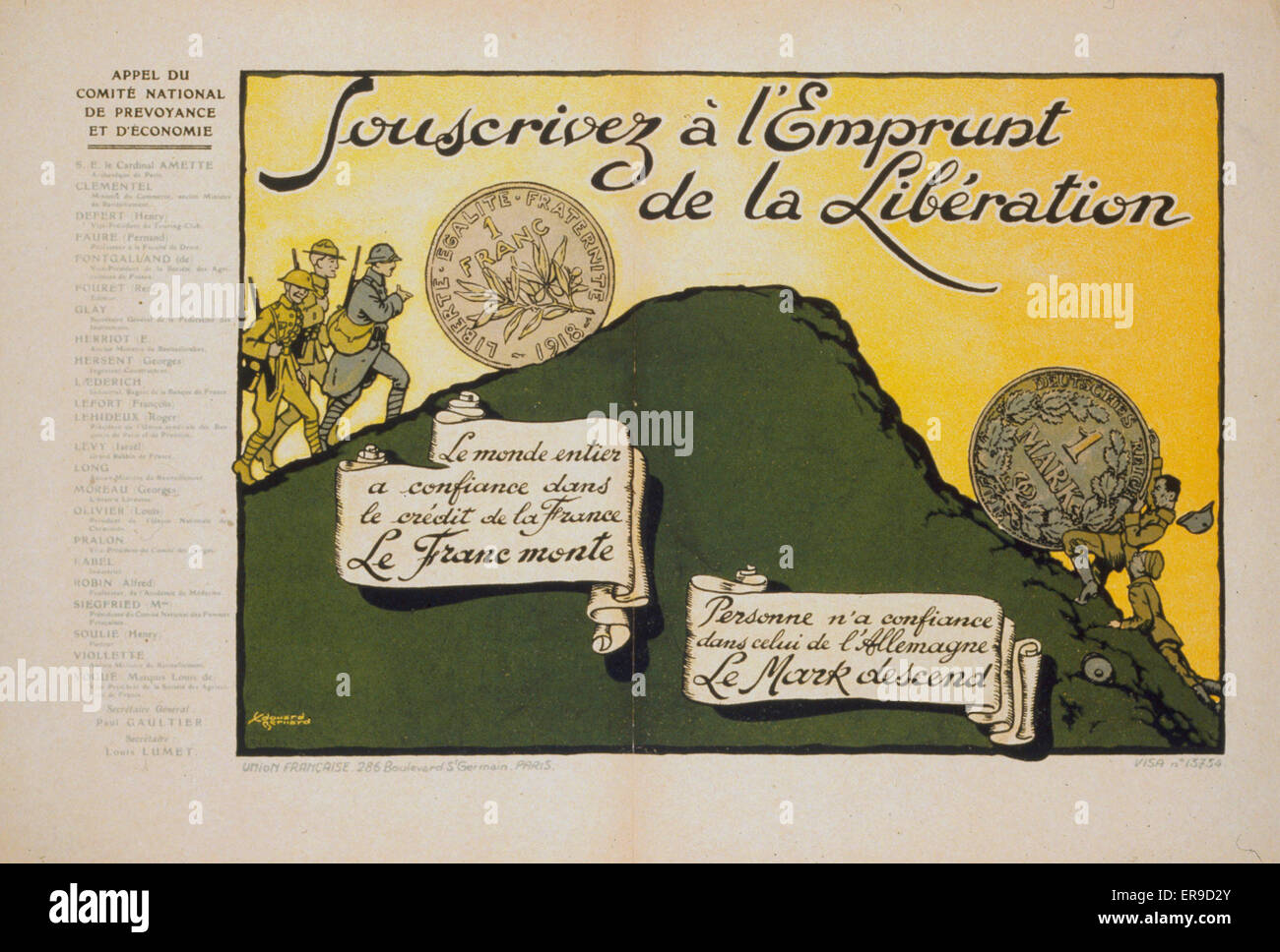 Souscrivez a l'Emprunt de la Liberation. The franc and the mark pushed uphill by French and German soldiers, - Stock Image