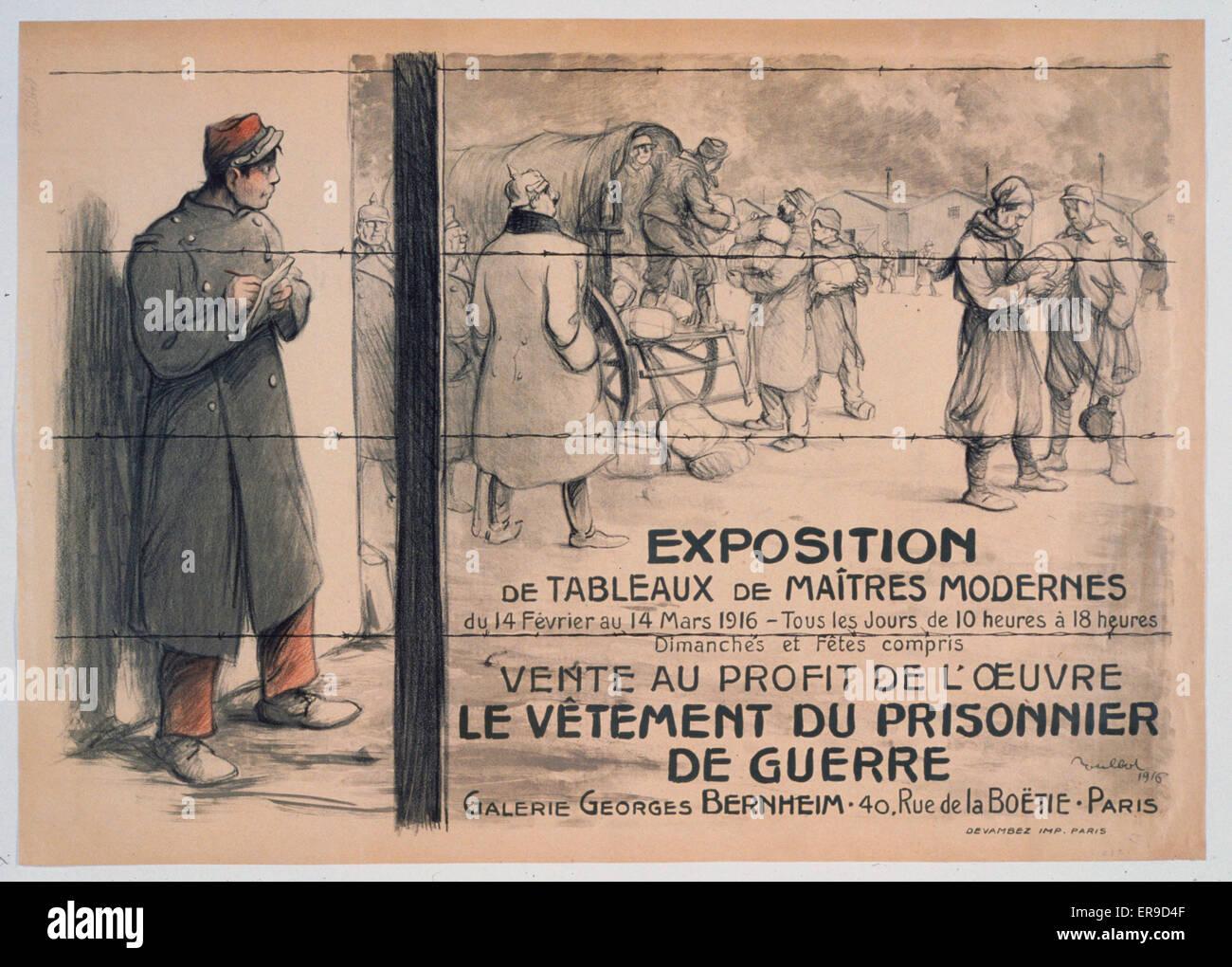 Exposition de tableaux de maitres modernesvente au profit de l'oeuvre le vetement du prisonnier de guerre. Galerie Stock Photo
