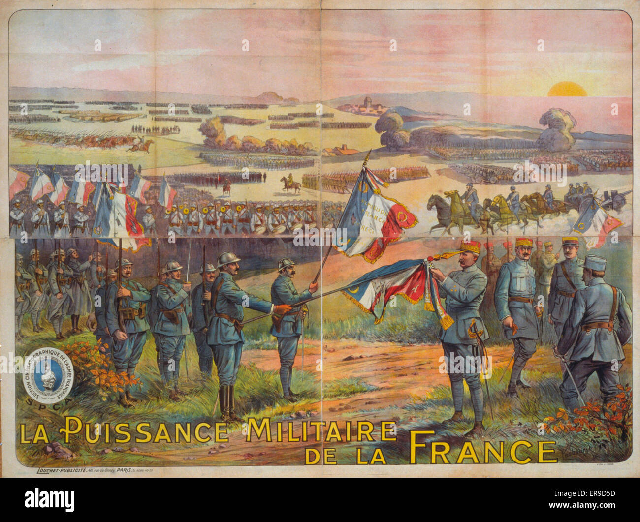 La puissance militaire de la France. French troops (infantrymen, cavalry, etc.) gathering on a field. Field Marshal - Stock Image