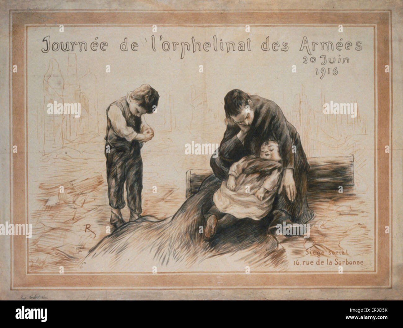 Journee de l'orphenlinat des armees. A woman with a bowed head and a small child in her lap. A little boy stands - Stock Image