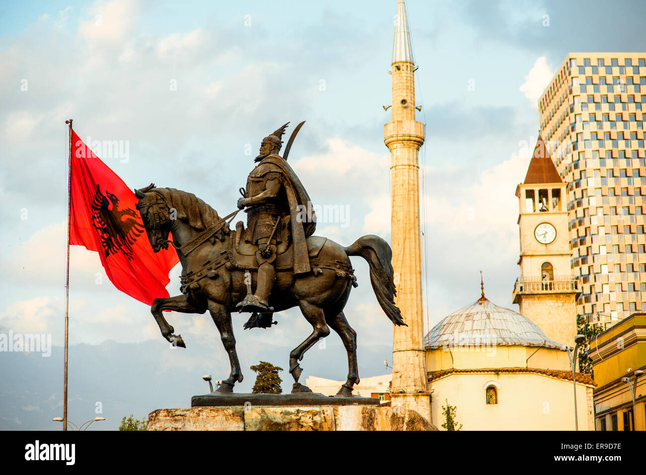 Monument of Skanderbeg in Tirana Stock Photo
