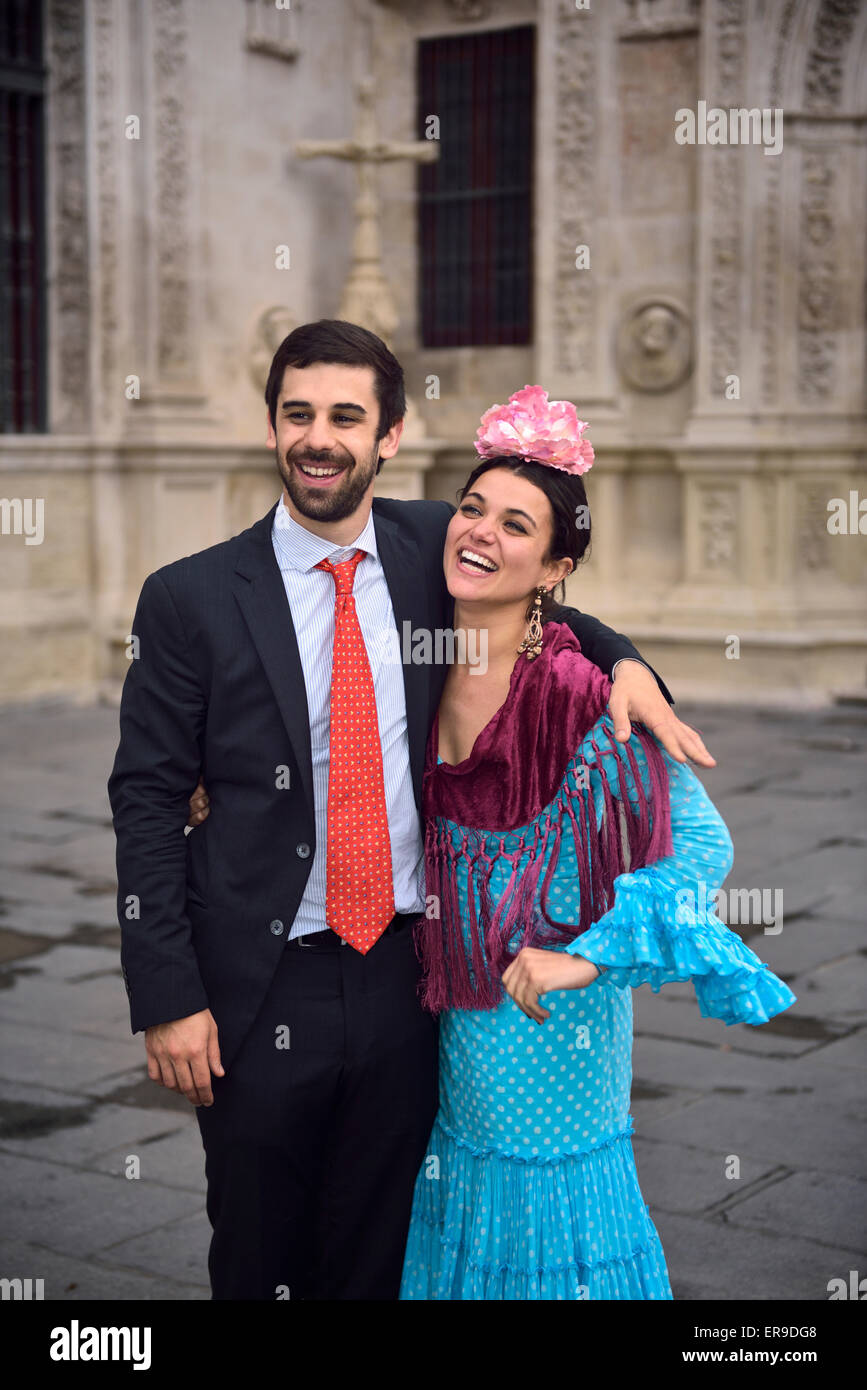 A couple laughing in the early morning after a night out in Seville Andalusia - Stock Image