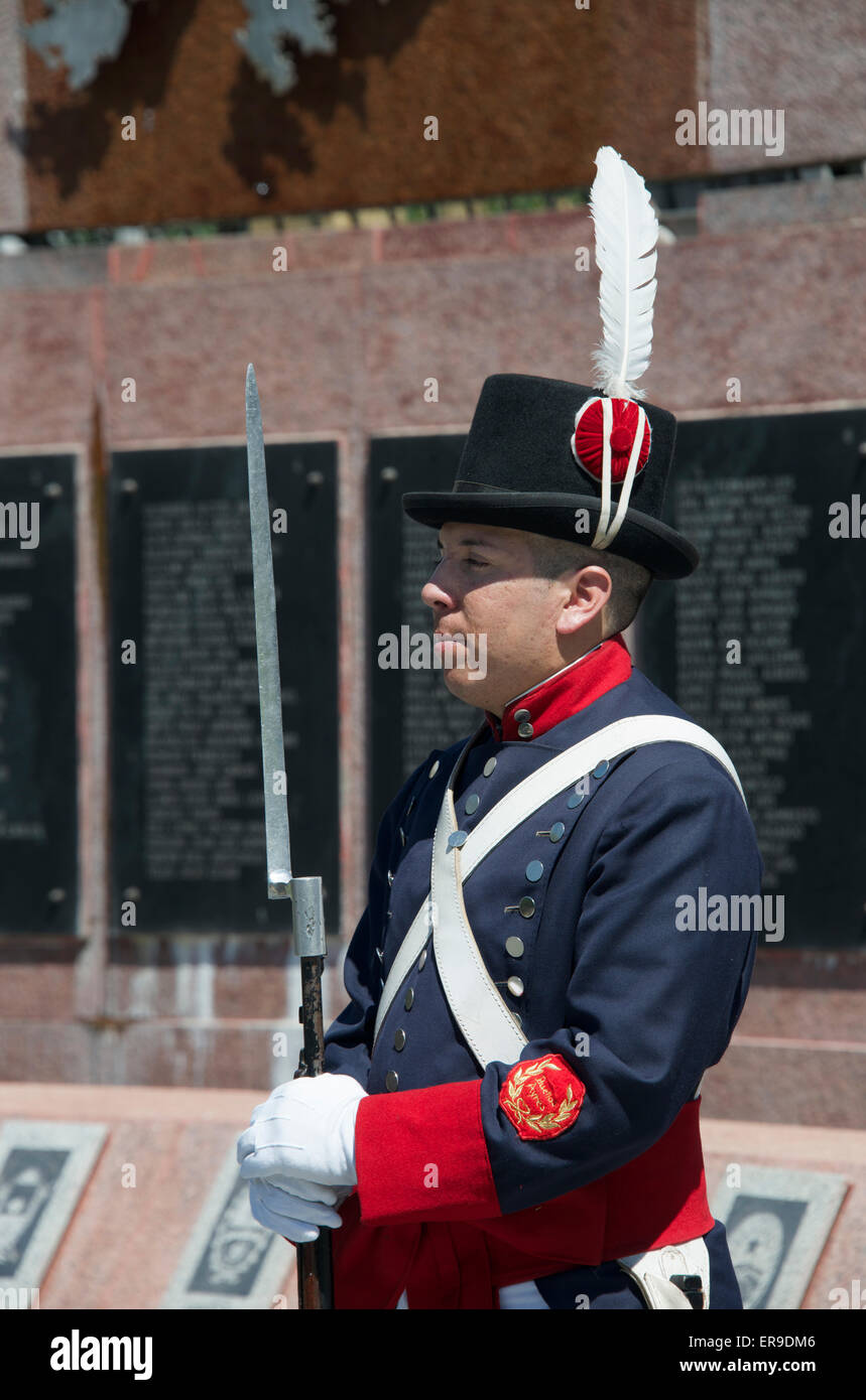 Guard in uniform Falklands War Memorial Plaza San Martin Retiro