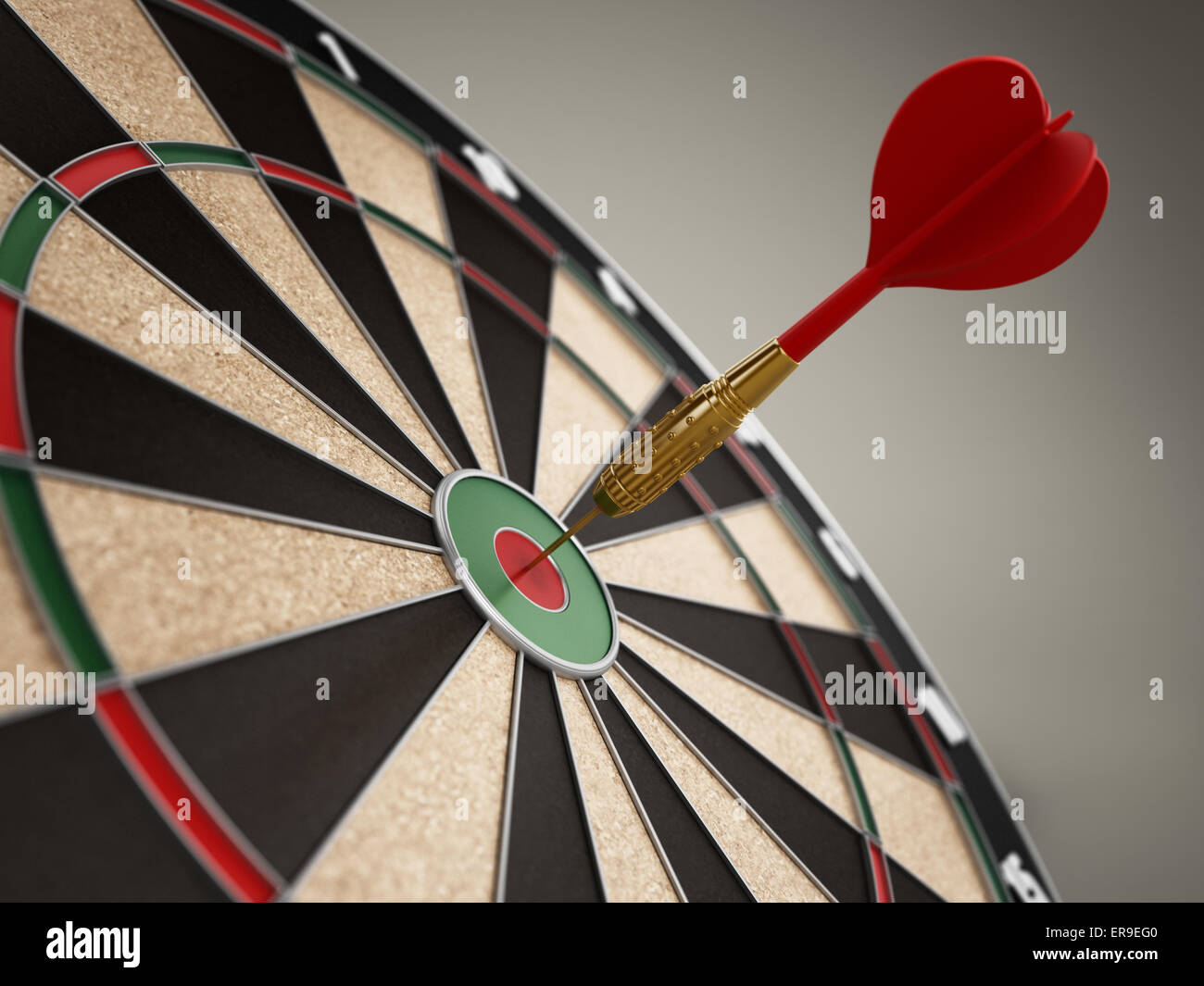 Red dart hit right at the center of the target - Stock Image