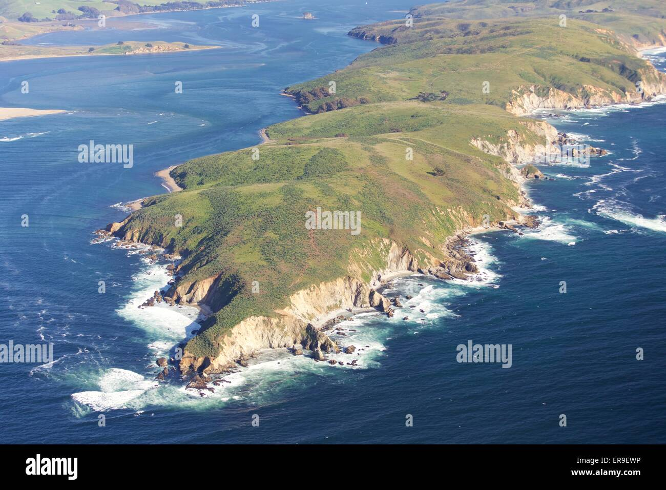 Aerial view over Point Reyes, Tomales Point in Marin County, California, near San Francisco, in spring. - Stock Image