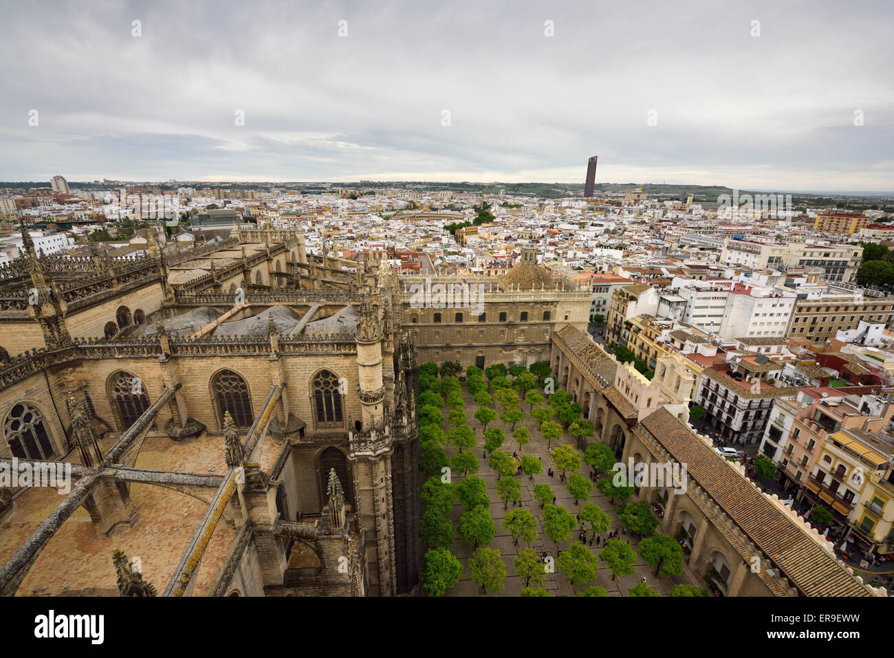 View of Seville city west from Giralda tower Saint Mary of the See cathedral roof and orange tree courtyard Andalusia - Stock Image