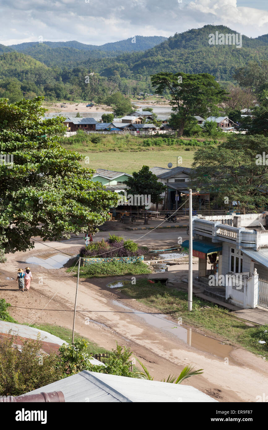 A view of the Burmese town of Hsipaw from the roof of Mr Charles' Hotel, to the Dokhtawady River.Shan Hills in the Stock Photo