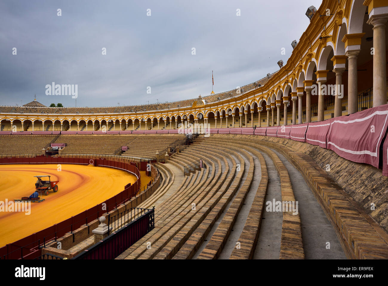 Groomers on the golden sand with empty stands at the oval Seville bullfighting ring - Stock Image