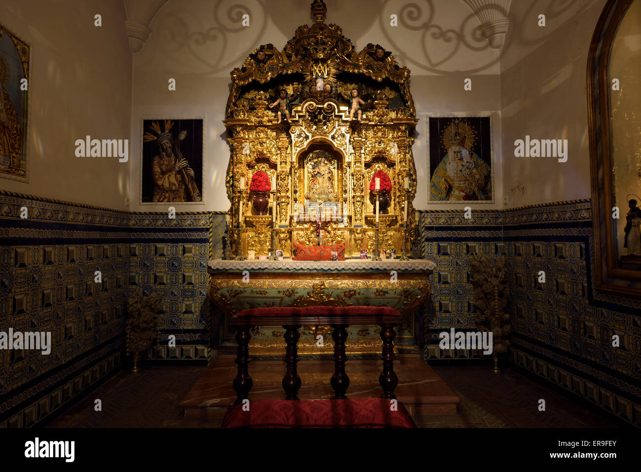 Matador chapel Blessed Virgin Mary Our Lady of Charity at the Seville bullring - Stock Image