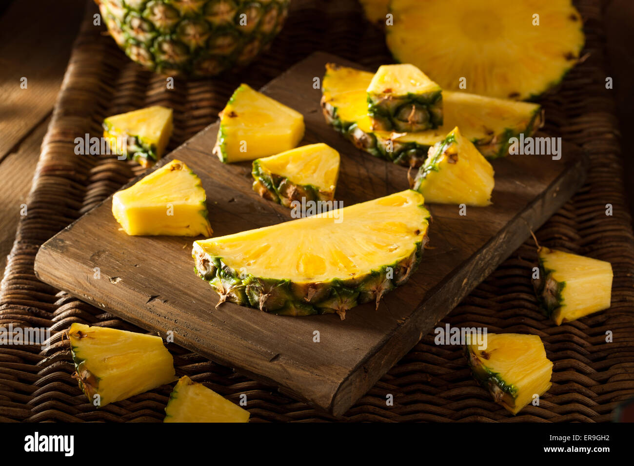 Organic Raw Yellow Pineapple Ready to Eat - Stock Image