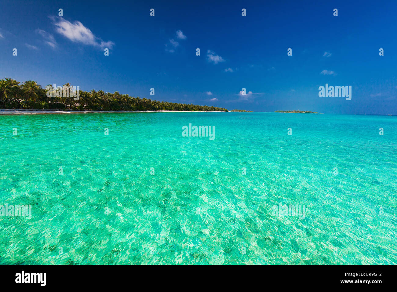Tropical island with sandy beach, clear sky and pristine water - Stock Image