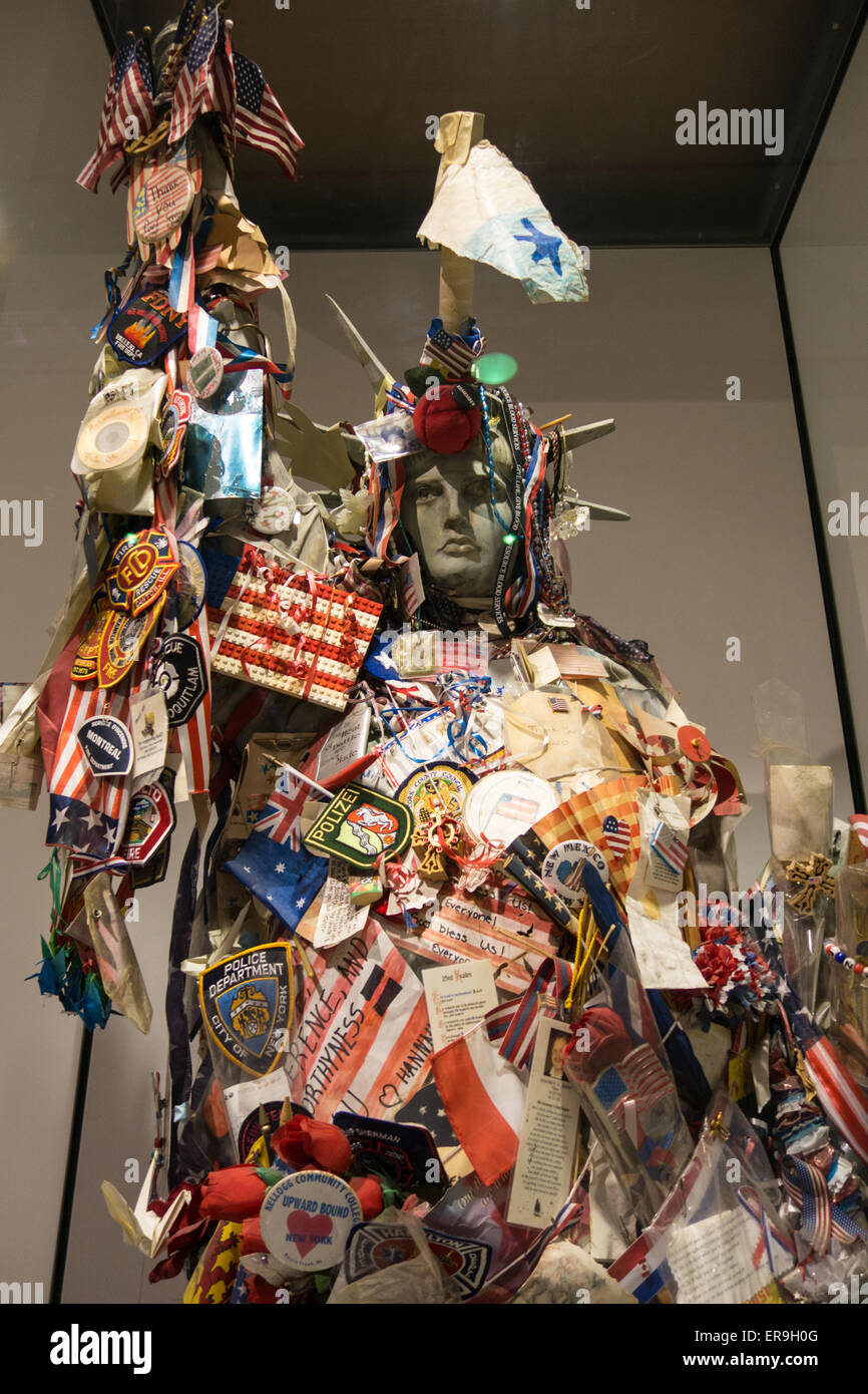 "Statue of Liberty ""Lady Liberty"" artwork, assembled from memorabilia/tributes . National September 11 Memorial Museum, Stock Photo"
