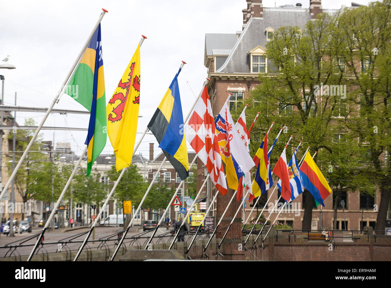 European Union flags flying at the Binnenhof building in The Hague Netherlands - Stock Image