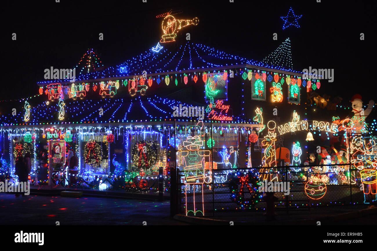 christmas lights drive from mollala oregon to portland oregon usa stock image