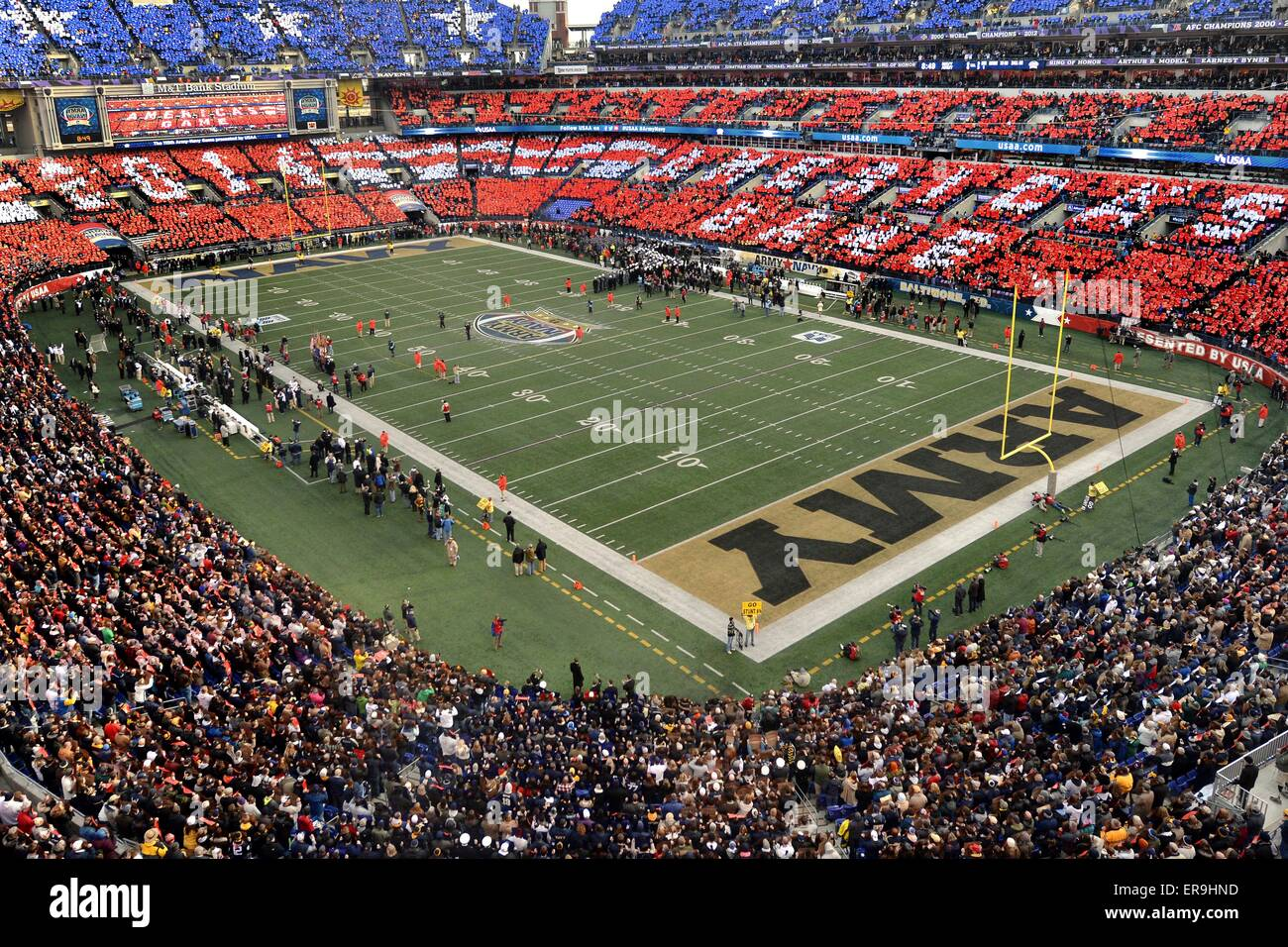 Spectators hold up colorful cards during the 115h Army vs Navy football game at M&T Stadium December 13, 2014 - Stock Image