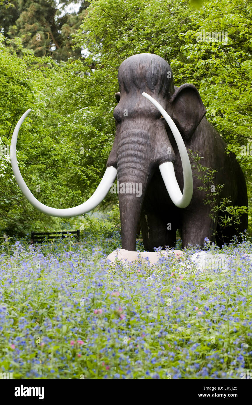 Mammoth Dinosaur Statue walking in the woodlands of England - Stock Image
