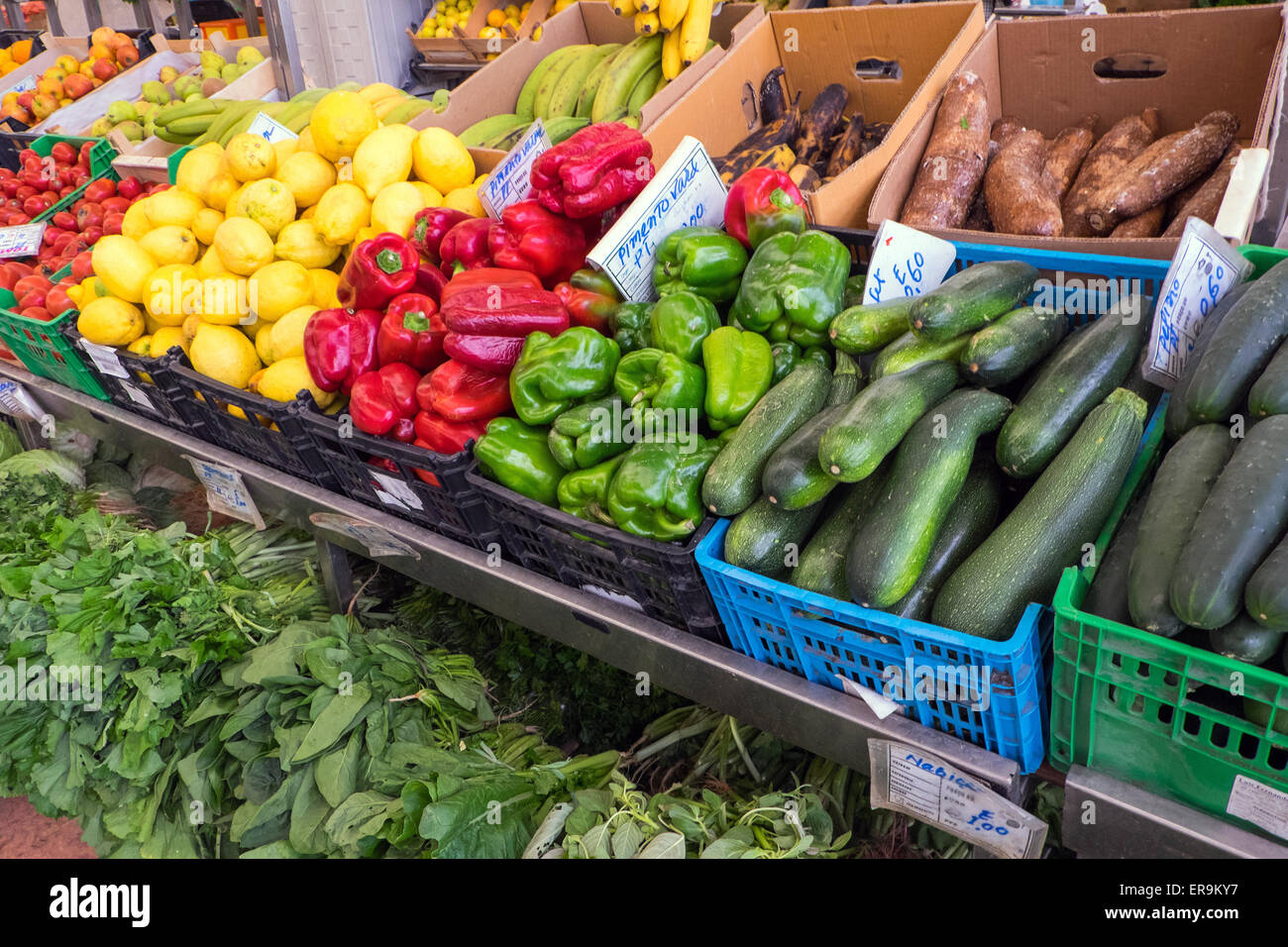 Great choice of vegetables for sale at a market - Stock Image