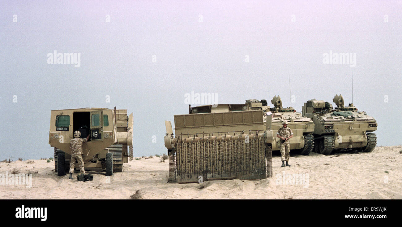 Early January 1991. British Army Aardvark JSFU mine-clearance vehicles on exercise north of Dhahran in Saudi Arabia. - Stock Image