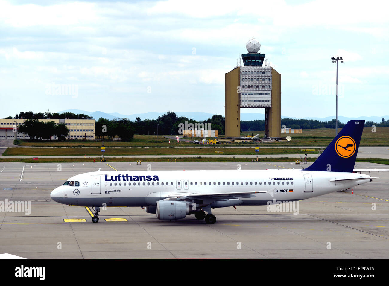 Airbus A320-200 of Lufthansa airways in Ferenc Listz international airport Budapest Hungary - Stock Image