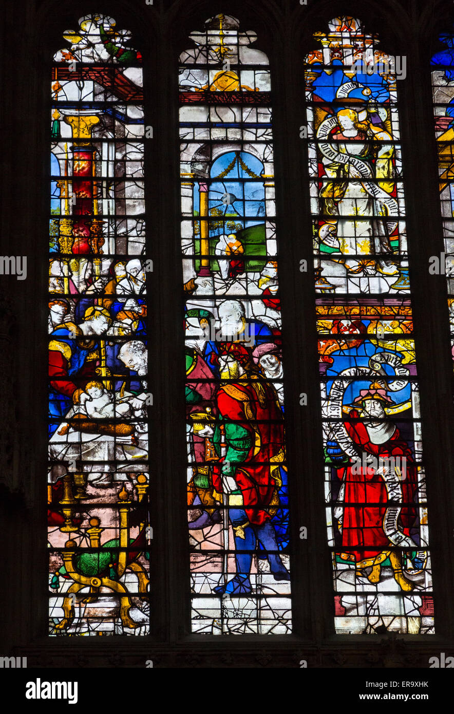 UK, England, Cambridge.  King's College Chapel, Stained Glass Window showing the Circumcision of Jesus. - Stock Image