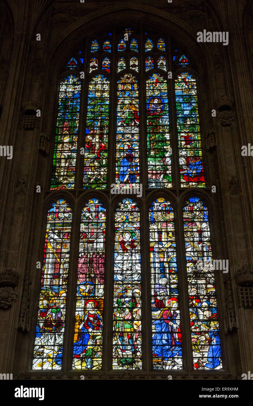 UK, England, Cambridge.  King's College Chapel, 16th. Century Stained Glass Window showing The Nativity, lower - Stock Image