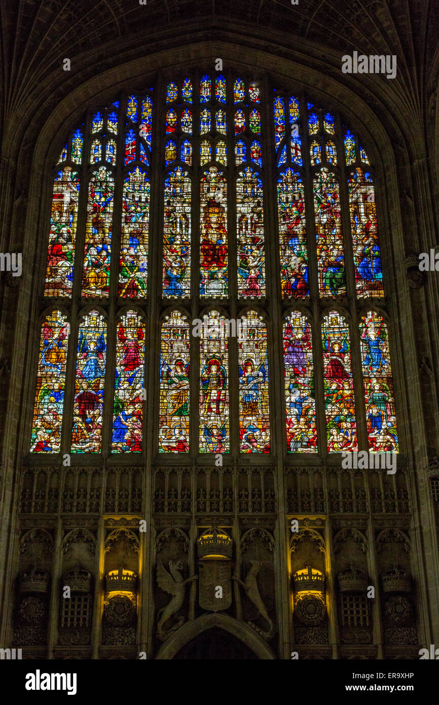 UK, England, Cambridge.  King's College Chapel, 19th. Century Stained Glass Window Representing the Last Judgment - Stock Image