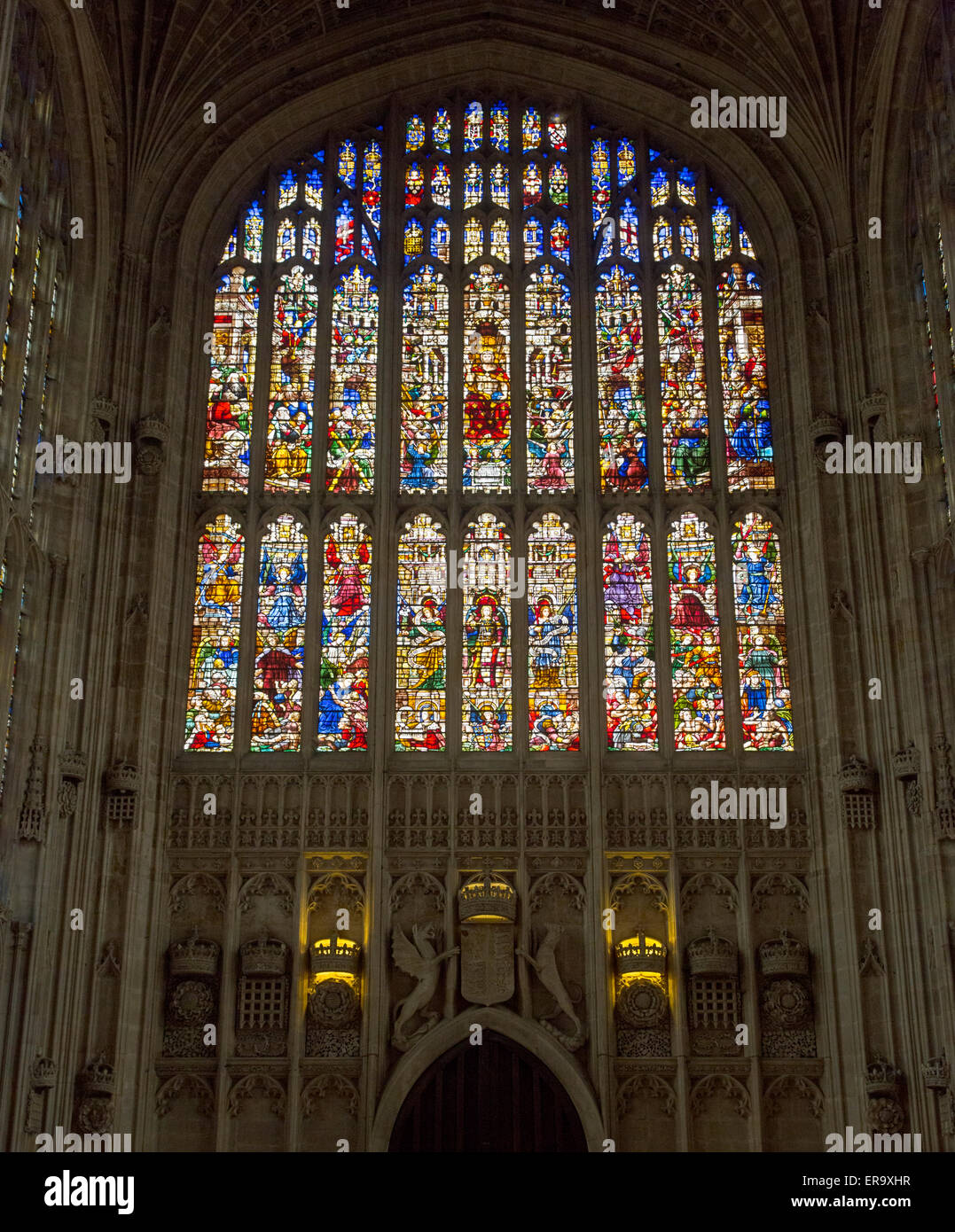 UK, England, Cambridge.  King's College Chapel, 19th. Century Stained Glass Window Representing the Last Judgment. - Stock Image
