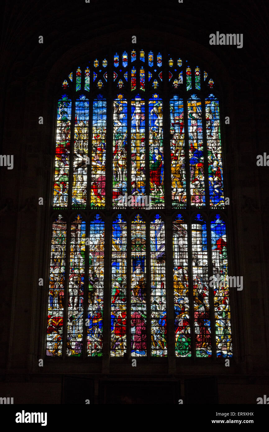 UK, England, Cambridge.  King's College Chapel, Stained Glass Windows, the Crucifixion of Christ. - Stock Image