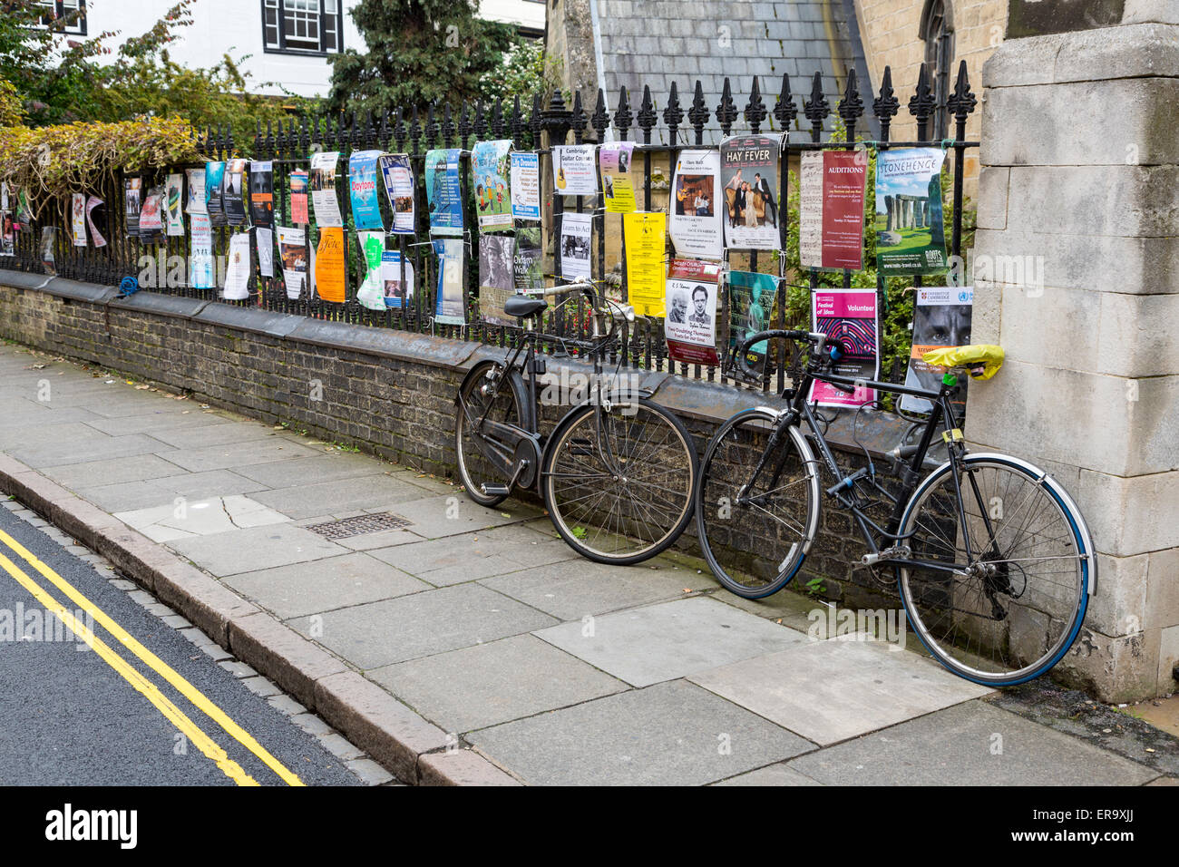 UK, England, Cambridge.  Posters and Advertisements along King's Parade. - Stock Image