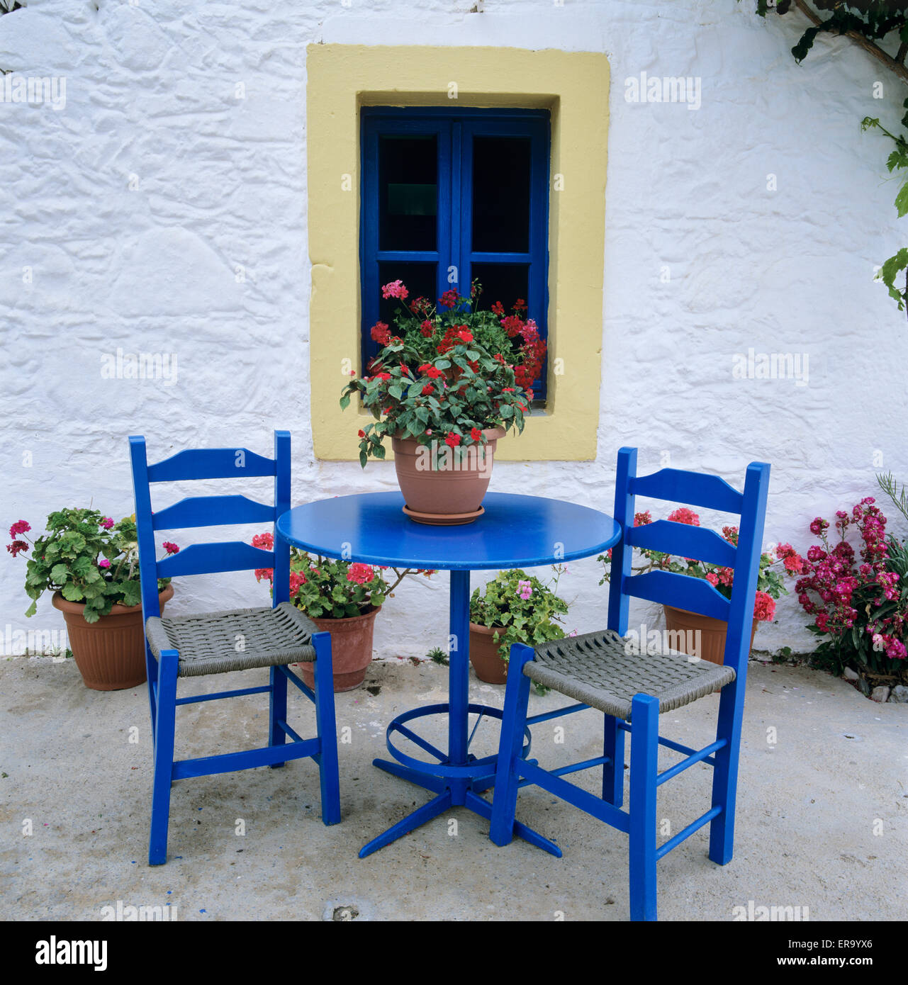 Greek style blue table and chairs, Kos, Dodecanese, Greek Islands, Greece, Europe - Stock Image