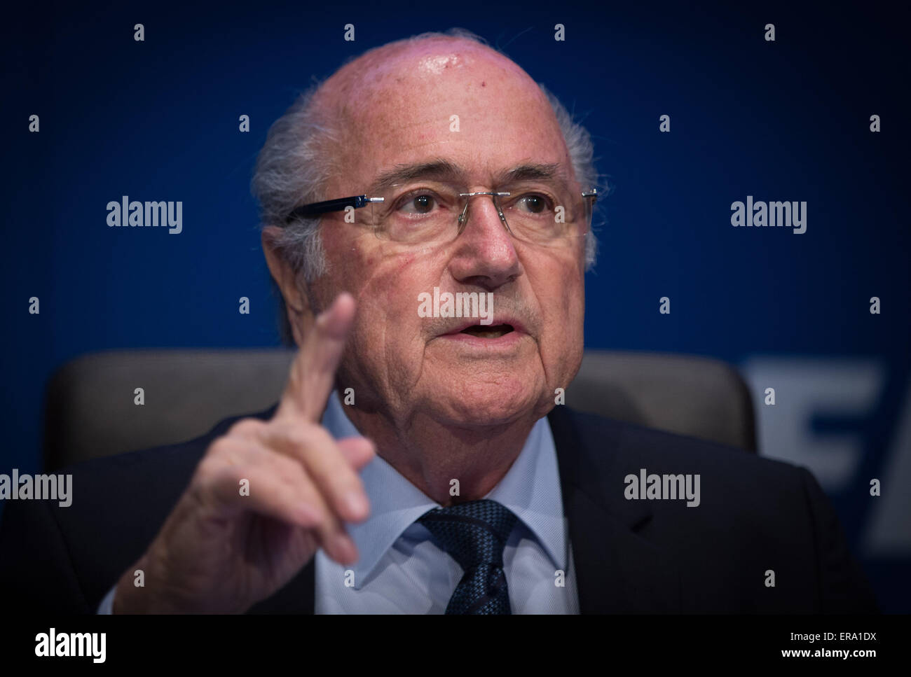 Zurich. 30th May, 2015. FIFA president Sepp Blatter attends a press conference in Zurich, Switzerland, May 30, 2015, - Stock Image