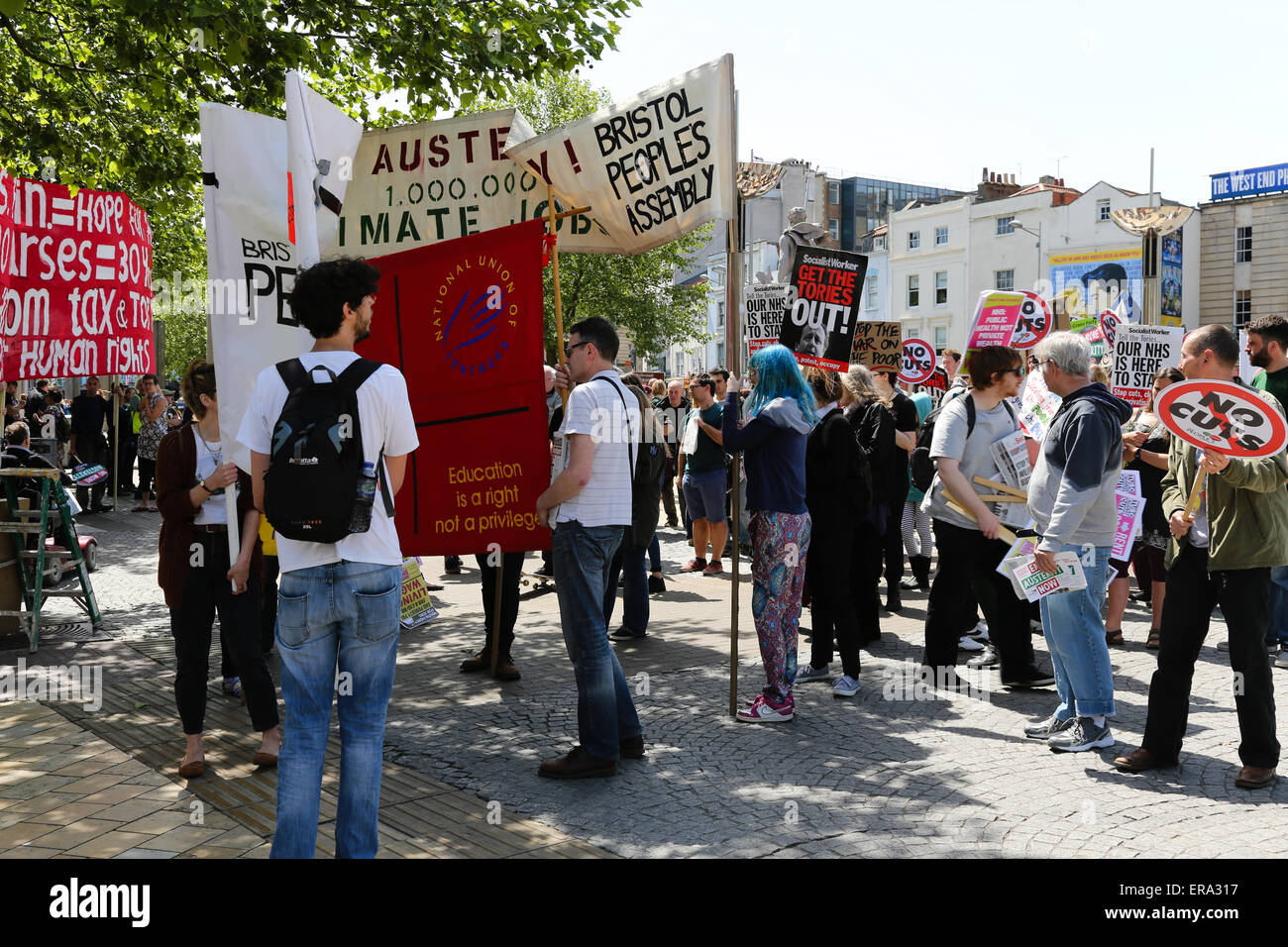 Bristol, UK. 30th May, 2015. Anti-Austerity protest in Bristol.  Several hundred people join a protest in Bristol - Stock Image