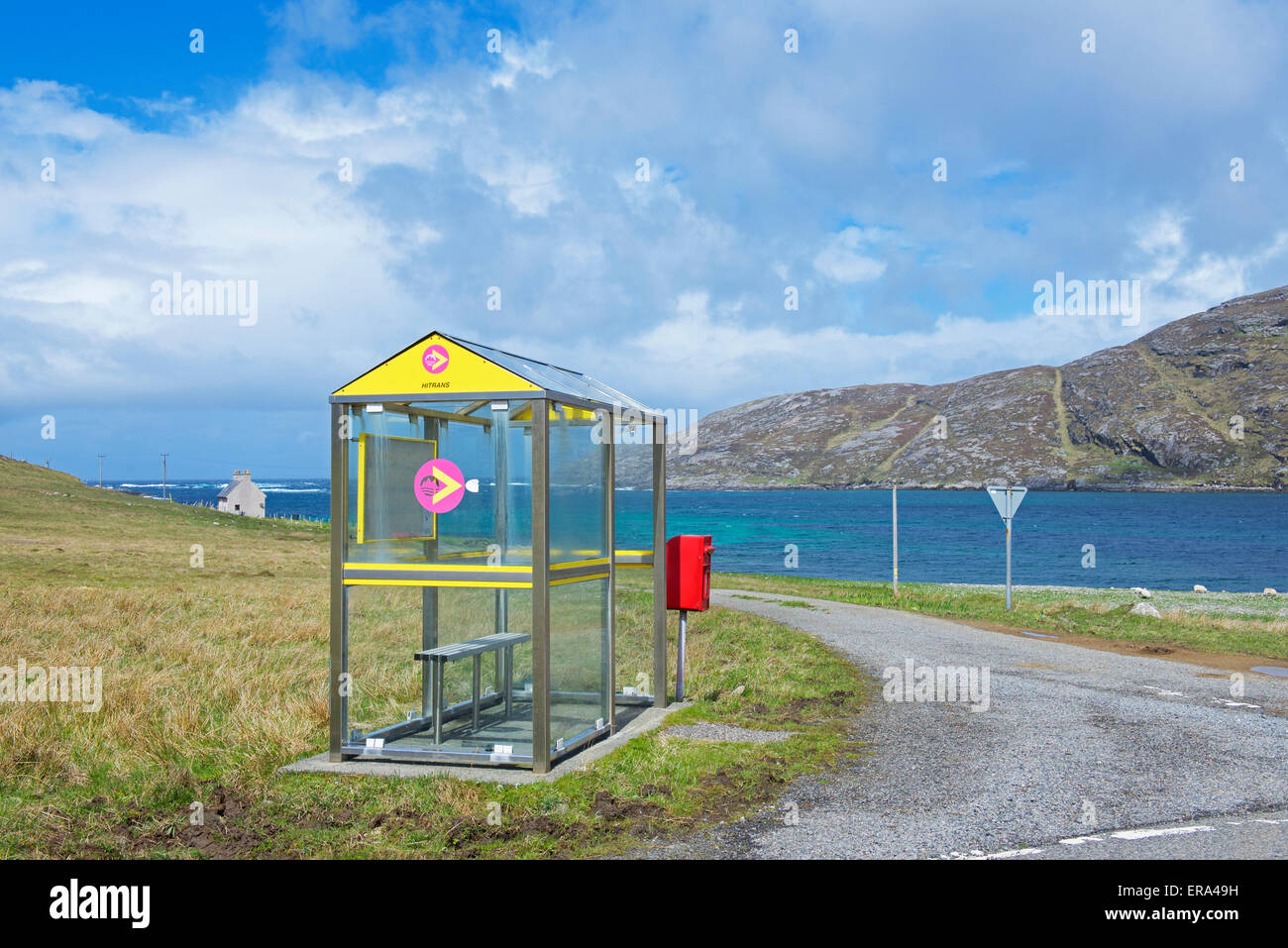 Bus stop on the island of Vatersay, Isle of Barra, Outer Hebrides, Scotland UK - Stock Image