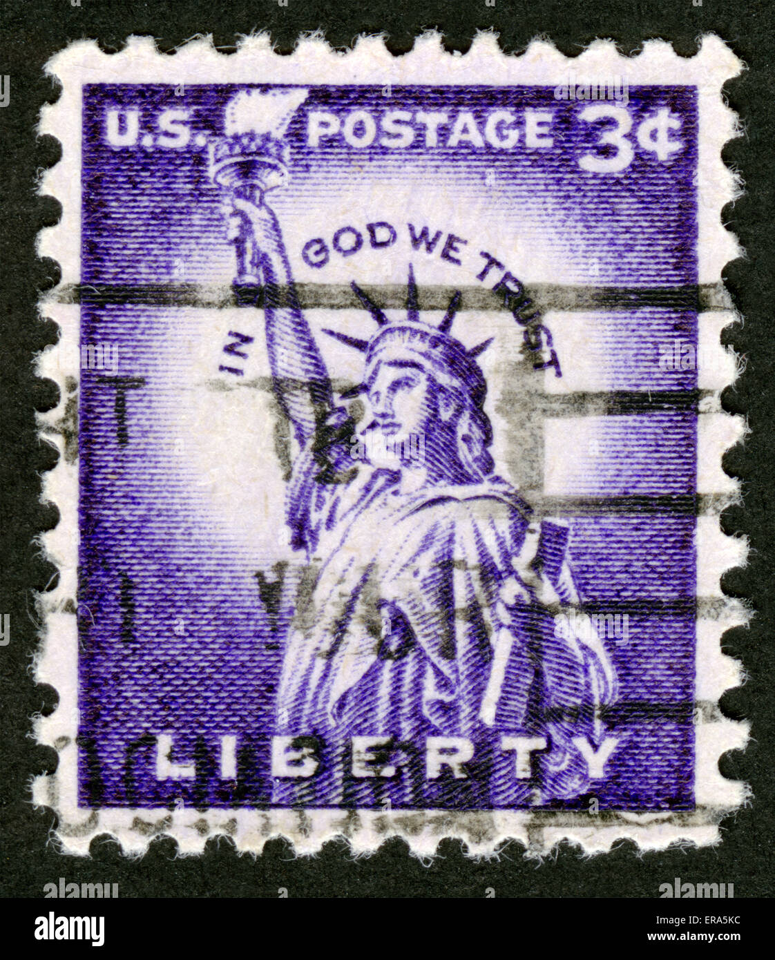 USA,Circa 1954,Statue of Liberty on USA stamp, IN GOD WE