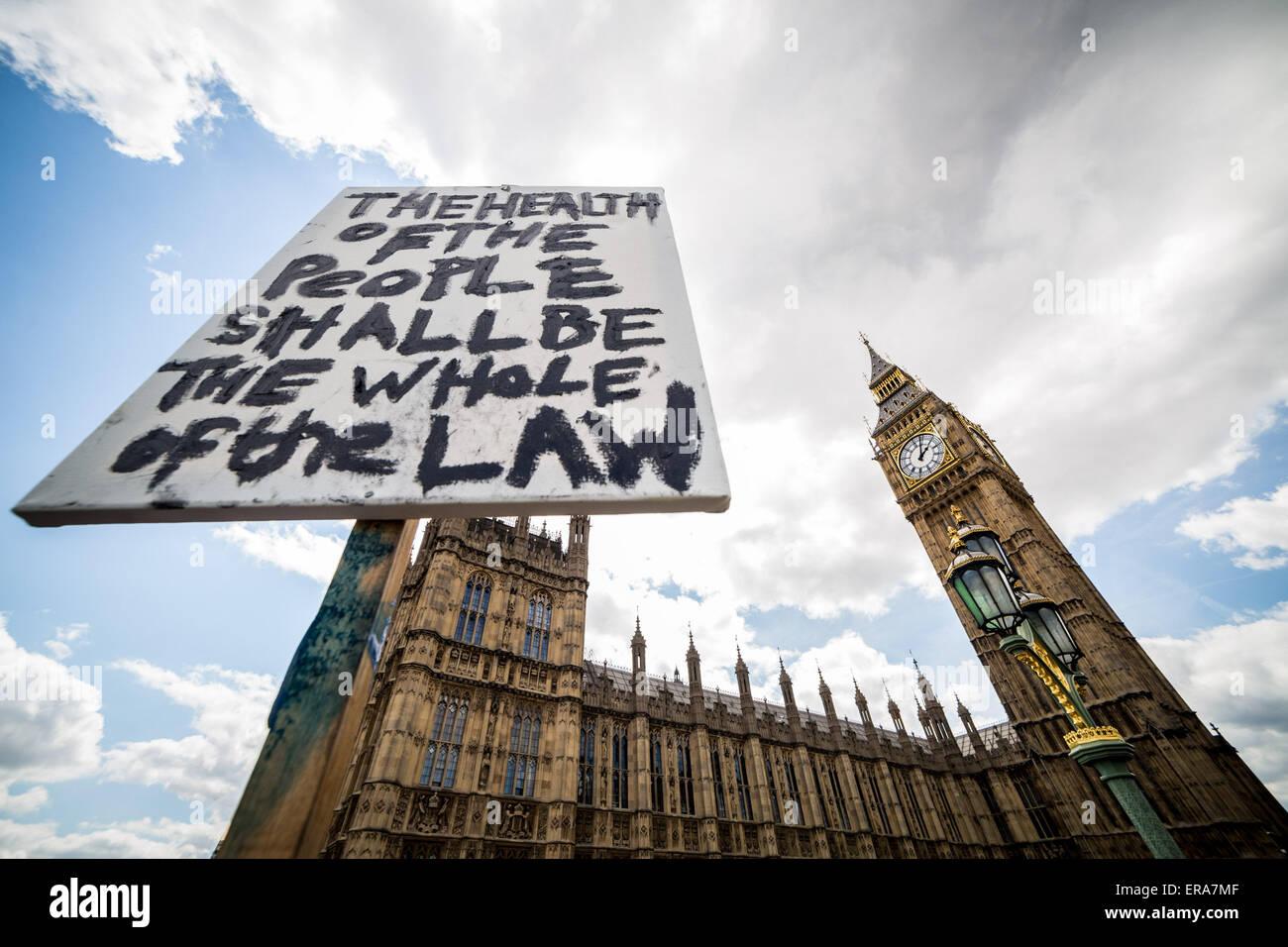 London, UK. 30th May, 2015. Anti-Austerity Protest on Westminster Bridge Credit:  Guy Corbishley/Alamy Live News - Stock Image
