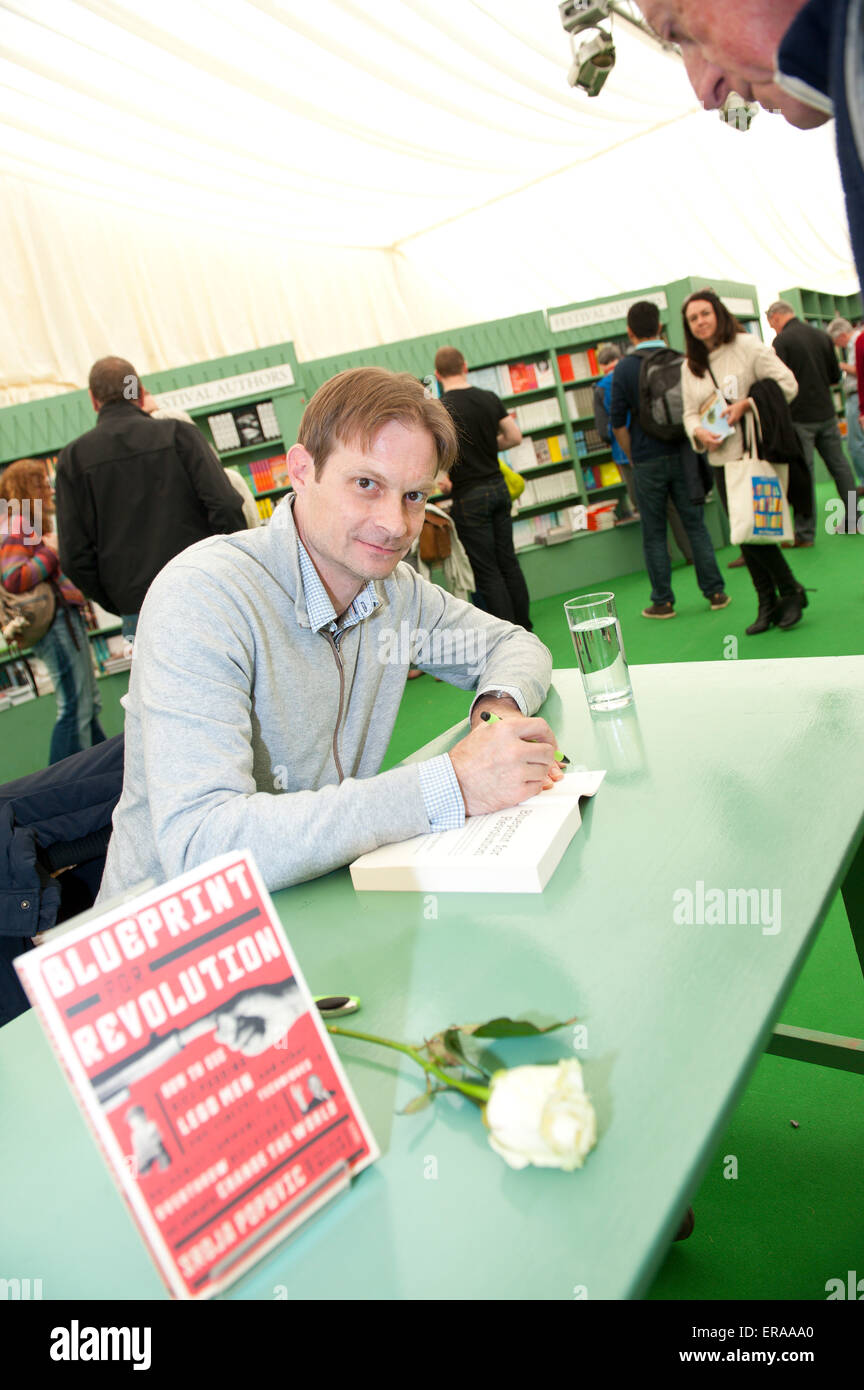 Hay on wye powys uk 30th may 2015 srdja popovic signs copies of srdja popovic signs copies of his book blueprint for revolution at the hay festival credit graham m lawrencealamy live news malvernweather Choice Image