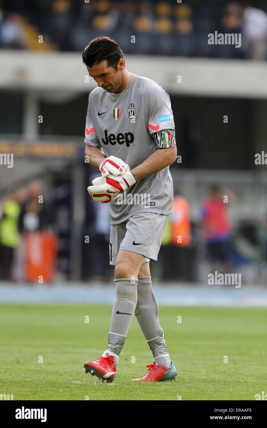 34f5e2653 30th May, 2015. Juventus's goalkeeper Gianluigi Buffon reacts during the  Italian Serie A football match between Verona FC and Juventus FC on  Saturday 30 May ...