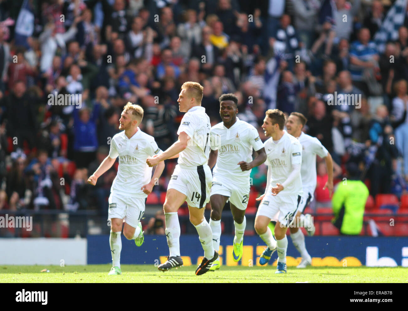 Glasgow, Scotland. 30th May, 2015. Scottish Cup Final. Falkirk versus Inverness CT. Peter Grant celebrates his goal - Stock Image